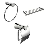 American Imaginations Chrome Towel Ring, Multi-Rod Towel Rack and Toilet Paper Holder Accessory Set (AI-13938)