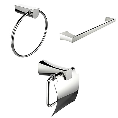 American Imaginations Modern Towel Ring, Single Rod Towel Rack and Toilet Paper Holder Accessory Set (AI-13935)