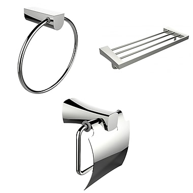 American Imaginations Chrome Towel Ring, Multi-Rod Towel Rack and Toilet Paper Holder Accessory Set (AI-13936)