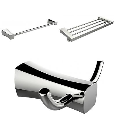 American Imaginations Multi-Rod Towel Rack With Robe Hook and Single Towel Rod Accessory Set (AI-13466)