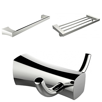 American Imaginations Multi-Rod Towel Rack With Robe Hook and Single Towel Rod Accessory Set (AI-13473)