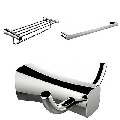 American Imaginations Multi-Rod Towel Rack With Robe Hook and Single Towel Rod Accessory Set (AI-13471)