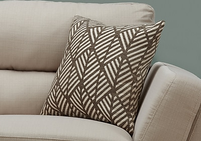 "Monarch Specialties 18"" x 18"" Polyester Taupe Accent Pillow (I 9202)"
