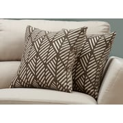 "Monarch Specialties 18"" x 18"" Polyester Taupe Accent Pillow, Set of 2 (I 9203)"