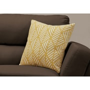 "Monarch Specialties 18"" x 18"" Polyester Yellow Accent Pillow (I 9204)"