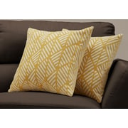 """Monarch Specialties 18"""" x 18"""" Polyester Yellow Accent Pillow, Set of 2 (I 9205)"""