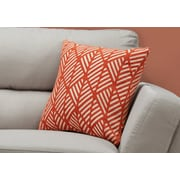"Monarch Specialties 18"" x 18"" Polyester Orange Accent Pillow (I 9206)"