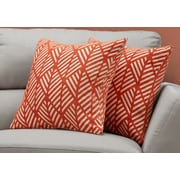 "Monarch Specialties 18"" x 18"" Polyester Orange Accent Pillow, Set of 2 (I 9207)"