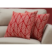 "Monarch Specialties 18"" x 18"" Polyester Red Accent Pillow, Set of 2 (I 9209)"