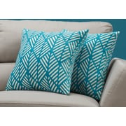 "Monarch Specialties 18"" x 18"" Polyester Teal Accent Pillow, Set of 2 (I 9211)"
