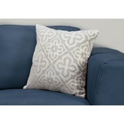 "Monarch Specialties 18"" x 18"" Polyester Light Grey Accent Pillow (I 9214)"