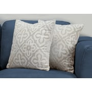 "Monarch Specialties 18"" x 18"" Polyester Light Grey Accent Pillow, Set of 2 (I 9215)"