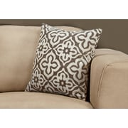"Monarch Specialties 18"" x 18"" Polyester Taupe Accent Pillow (I 9216)"