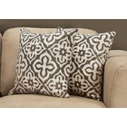 "Monarch Specialties 18"" x 18"" Polyester Taupe Accent Pillow, Set of 2 (I 9217)"