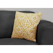"Monarch Specialties 18"" x 18"" Polyester Yellow Accent Pillow (I 9218)"