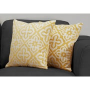 "Monarch Specialties 18"" x 18"" Polyester Yellow Accent Pillow, Set of 2 (I 9219)"