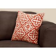 "Monarch Specialties 18"" x 18"" Polyester Orange Accent Pillow (I 9220)"