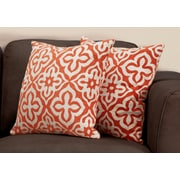 "Monarch Specialties 18"" x 18"" Polyester Orange Accent Pillow, Set of 2 (I 9221)"