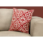 "Monarch Specialties 18"" x 18"" Polyester Red Accent Pillow (I 9222)"