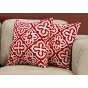 """Monarch Specialties 18"""" x 18"""" Polyester Red Accent Pillow, Set of 2 (I 9223)"""