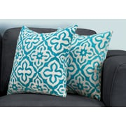 "Monarch Specialties 18"" x 18"" Polyester Teal Accent Pillow, Set of 2 (I 9225)"