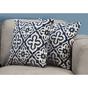 "Monarch Specialties 18"" x 18"" Polyester Blue Accent Pillow, Set of 2 (I 9227)"