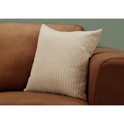 """Monarch Specialties 18"""" x 18"""" Polyester Taupe Accent Pillow (I 9228)"""