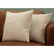 "Monarch Specialties 18"" x 18"" Polyester Taupe Accent Pillow, Set of 2 (I 9229)"