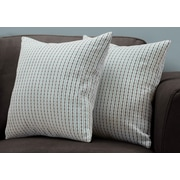 "Monarch Specialties 18"" x 18"" Polyester Blue,Grey Accent Pillow, Set of 2 (I 9231)"