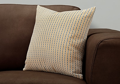 """Monarch Specialties 18"""" x 18"""" Polyester Gold,Grey Accent Pillow (I 9234)"""
