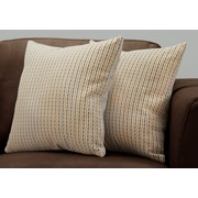 "Monarch Specialties 18"" x 18"" Polyester Gold,Grey Accent Pillow, Set of 2 (I 9235)"