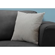 "Monarch Specialties 18"" x 18"" Polyester Black,Light Grey Accent Pillow (I 9236)"