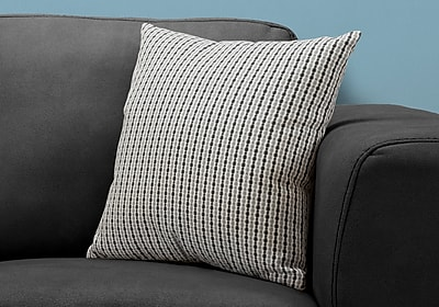 """Monarch Specialties 18"""" x 18"""" Polyester Black,Light Grey Accent Pillow (I 9236)"""