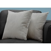 "Monarch Specialties 18"" x 18"" Polyester Black,Light Grey Accent Pillow, Set of 2 (I 9237)"