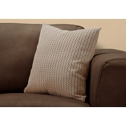 """Monarch Specialties 18"""" x 18"""" Polyester Brown Accent Pillow (I 9238)"""