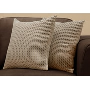 "Monarch Specialties 18"" x 18"" Polyester Brown Accent Pillow, Set of 2 (I 9239)"