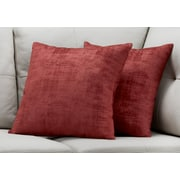 "Monarch Specialties 18"" x 18"" Polyester Red Accent Pillow, Set of 2 (I 9243)"