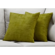 "Monarch Specialties 18"" x 18"" Polyester Green Accent Pillow, Set of 2 (I 9245)"