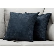 "Monarch Specialties 18"" x 18"" Polyester Blue Accent Pillow, Set of 2 (I 9249)"
