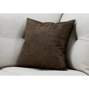 "Monarch Specialties 18"" x 18"" Polyester Brown Accent Pillow (I 9250)"