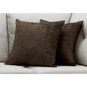 "Monarch Specialties 18"" x 18"" Polyester Brown Accent Pillow, Set of 2 (I 9251)"