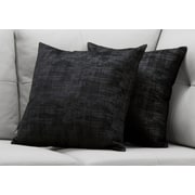 "Monarch Specialties 18"" x 18"" Polyester Black Accent Pillow, Set of 2 (I 9253)"