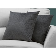 "Monarch Specialties 18"" x 18"" Polyester Dark Grey Accent Pillow, Set of 2 (I 9259)"