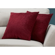 "Monarch Specialties 18"" x 18"" Polyester Red Accent Pillow, Set of 2 (I 9261)"