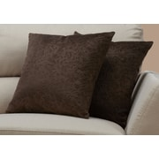 "Monarch Specialties 18"" x 18"" Polyester Brown Accent Pillow, Set of 2 (I 9265)"