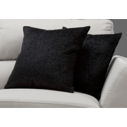 "Monarch Specialties 18"" x 18"" Polyester Black Accent Pillow, Set of 2 (I 9267)"