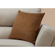 """Monarch Specialties 18"""" x 18"""" Polyester Brown Accent Pillow (I 9268)"""