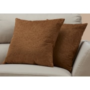 "Monarch Specialties 18"" x 18"" Polyester Brown Accent Pillow, Set of 2 (I 9269)"