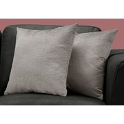 "Monarch Specialties 18"" x 18"" Polyester Grey Accent Pillow, Set of 2 (I 9273)"