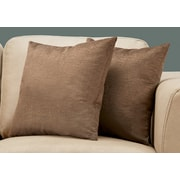 "Monarch Specialties 18"" x 18"" Polyester Brown Accent Pillow, Set of 2 (I 9277)"